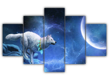 Load image into Gallery viewer, Multi Panel Wolf Fantasy in Blue Split Grouped Wall Canvas Art