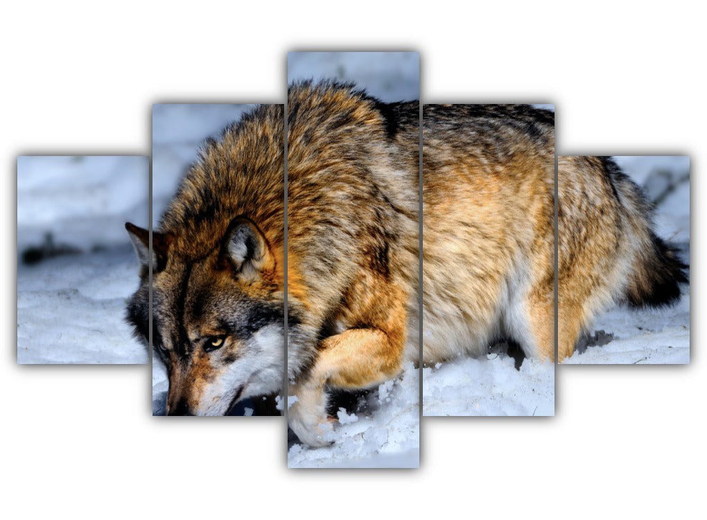 Multi Panel Wolf in the Snow Split Grouped Wall Canvas Art