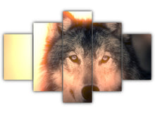 Load image into Gallery viewer, Multi Panel Wolfy Split Grouped Wall Canvas Art