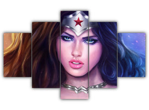 Multi Panel Wonder Woman Split Grouped Wall Canvas Art
