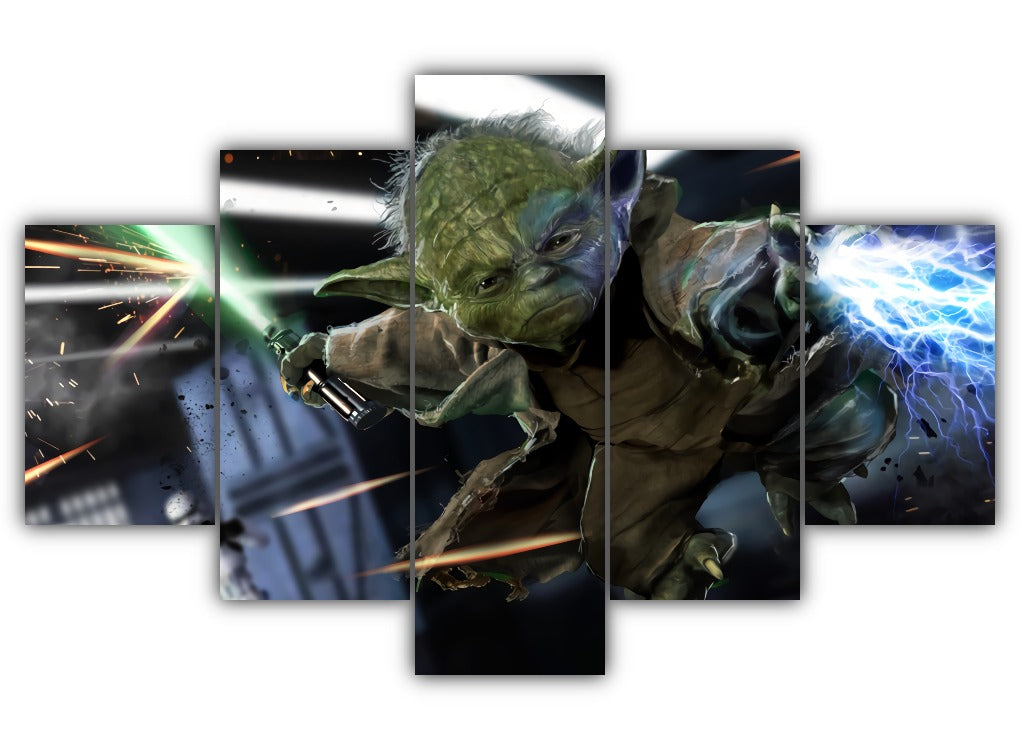 Multi Panel Yoda the mighty Jedi Split Grouped Wall Canvas Art