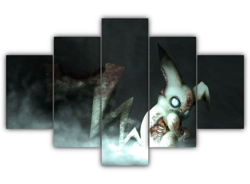 Multi Panel Zombie Pikachu Split Grouped Wall Canvas Art