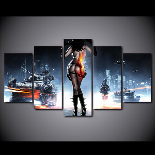Multi Panel Battlefield 3 Split Grouped Wall Canvas Art