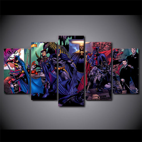 Multi Panel Batman Battle of the Cowl Split Grouped Wall Canvas Art