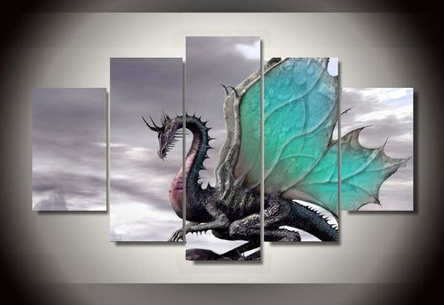 Multi Panel Ancient Dragon Split Grouped Wall Canvas Art