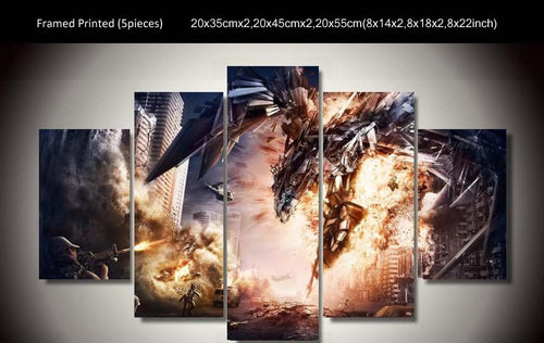 Multi Panel Robot Mechanic Dragon Split Grouped Wall Canvas Art