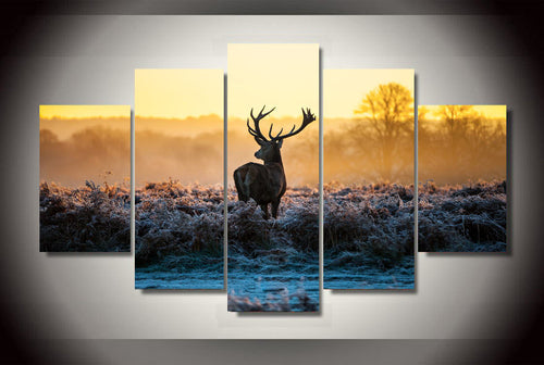 Multi Panel Elk Deer Split Grouped Wall Canvas Art