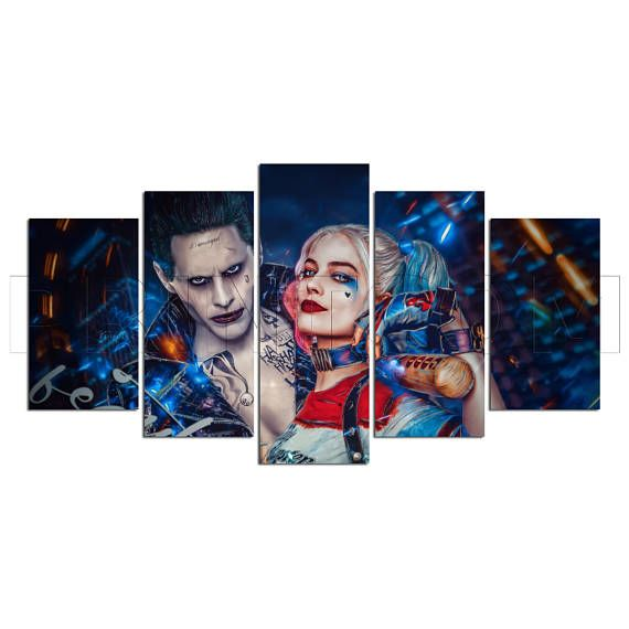 Multi Panel The Joker Harley Quinn Split Grouped Wall Canvas Art
