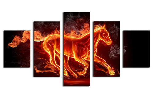 Multi Panel Flaming Stallion Split Grouped Wall Canvas Art