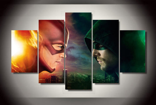 Multi Panel The Flash vs Green Arrow Split Grouped Wall Canvas Art