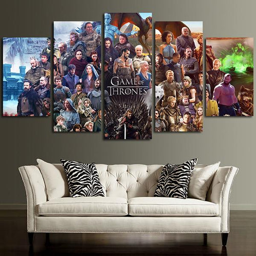 Multi Panel Game Of Thrones Characters and Cast Split Grouped Wall Canvas Art