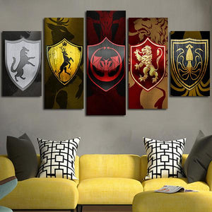 Multi Panel Game Of Thrones House Banners Split Grouped Wall Canvas Art