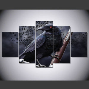 Multi Panel Crow Split Grouped Wall Canvas Art