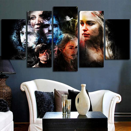 Multi Panel Game Of Thrones Characters Split Grouped Wall Canvas Art