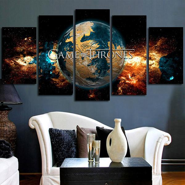 Multi Panel Game Of Thrones World Split Grouped Wall Canvas Art