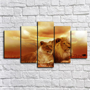 Multi Panel Silent Lion Couple Split Grouped Wall Canvas Art