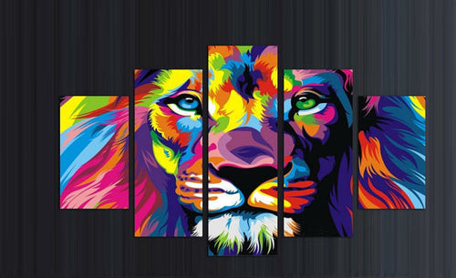 Multi Panel Multi Colored King Split Grouped Wall Canvas Art