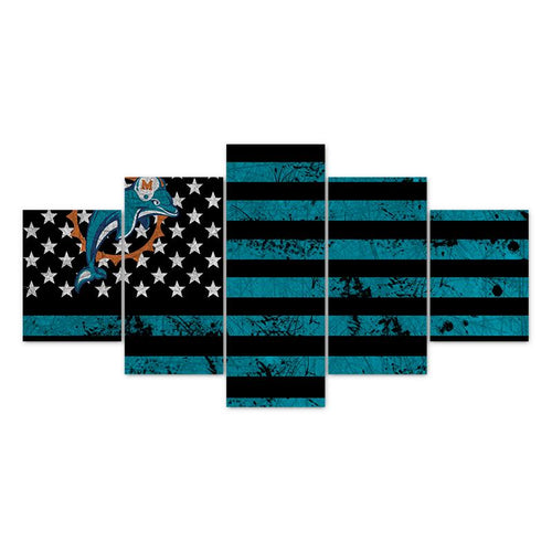 Multi Panel NFL Miami Dolphins Split Grouped Wall Canvas Art