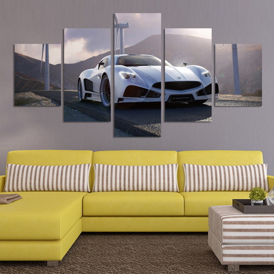 Multi Panel White Sports Car Split Grouped Wall Canvas Art