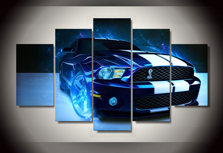Multi Panel Blue Sports Car Split Grouped Wall Canvas Art