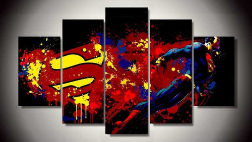 Multi Panel Superman Split Grouped Wall Canvas Art