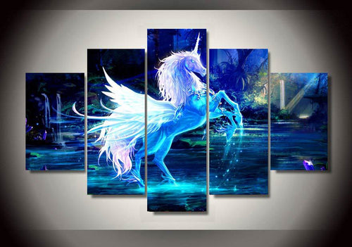 Multi Panel Magnificent Unicorn Split Grouped Wall Canvas Art