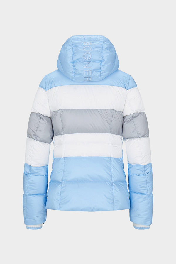 Colly Down Ski Jacket | Bogner | Light blue/grey/white - back view