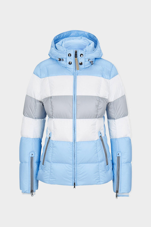 Colly Down Ski Jacket | Bogner | Light blue/grey/white - front view