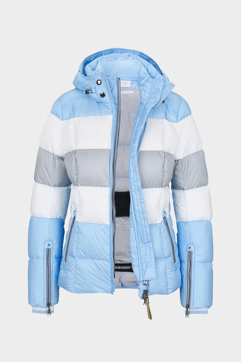 Colly Down Ski Jacket | Bogner | Light blue/grey/white - front view  open