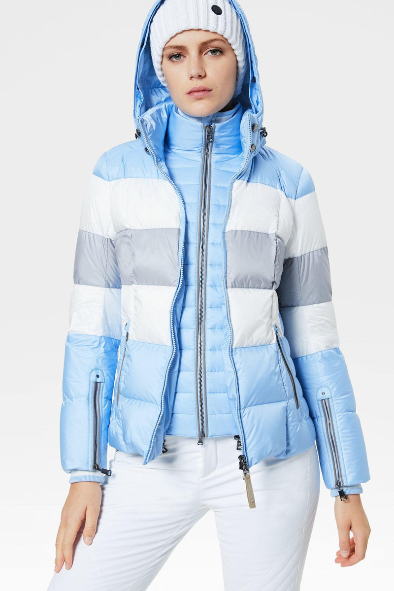 Colly Down Ski Jacket | Bogner | Light blue/grey/white - dressed open view