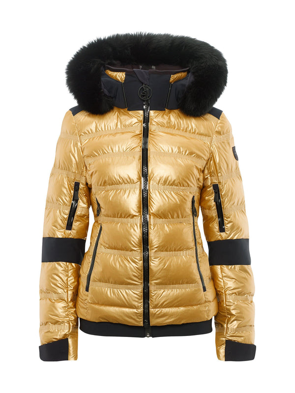 Tami Metallic Fur Women's Ski Jacket - Toni Sailer - Gold - front view