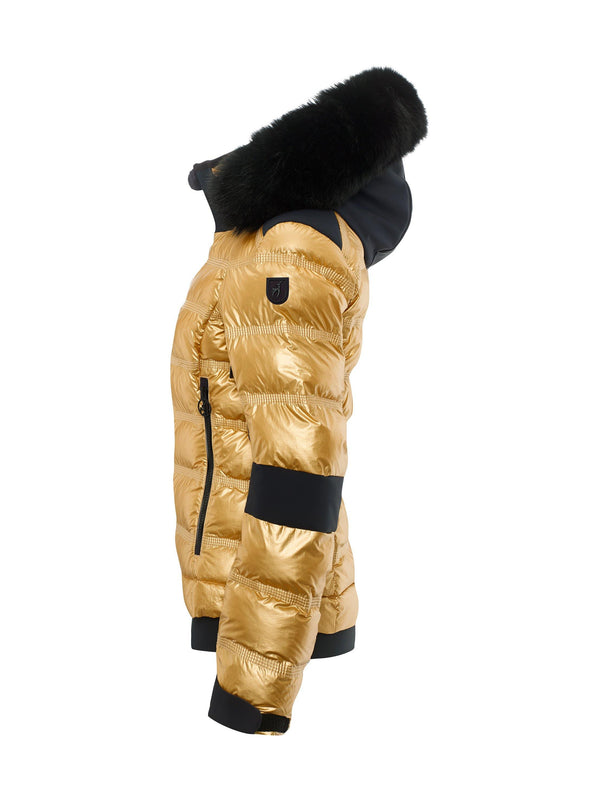 Tami Metallic Fur Women's Ski Jacket - Toni Sailer - Gold - side view