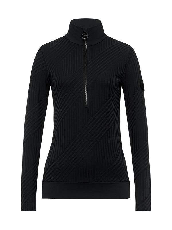 Wieka Stripe Women's First Layer - Toni Sailer - Black - front view