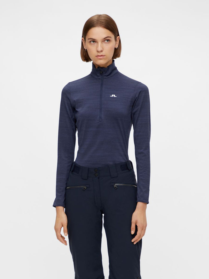Lauryn - Women Mid Layer  - J. Lindeberg - Navy Melange - dressed front view