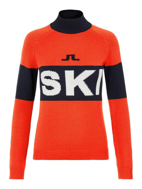 Alva Knitted Ski Sweater - J.Lindeberg - Red - front view
