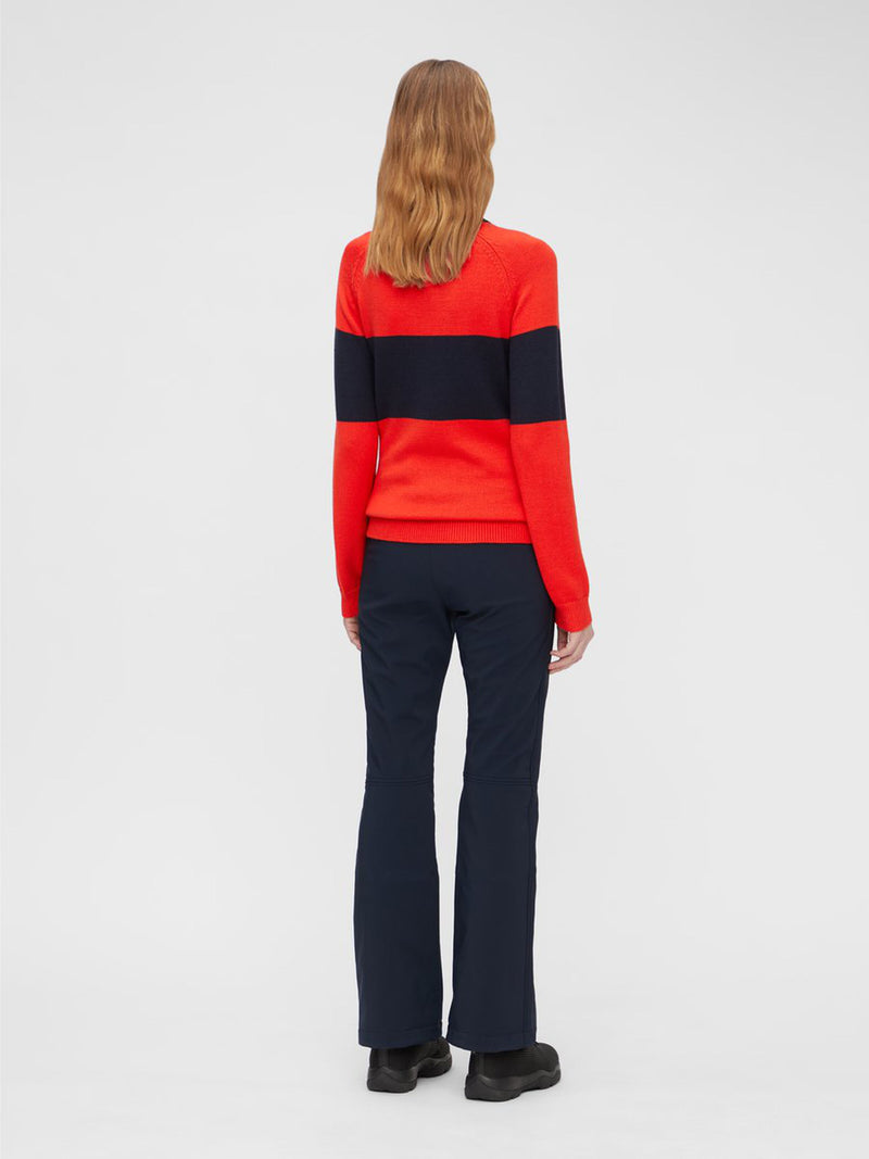 Alva Knitted Ski Sweater - J.Lindeberg - Red - back dressed view