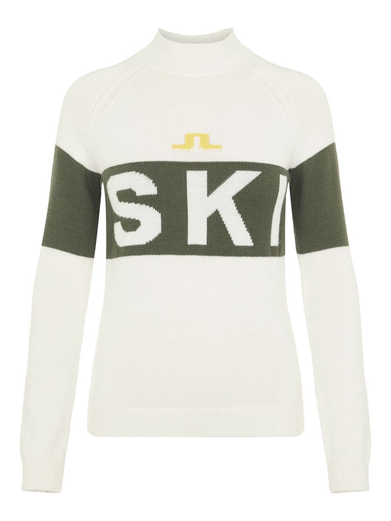 Alva Knitted Ski Sweater - J.Lindeberg - White - front view