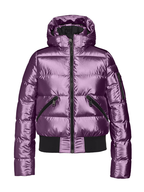 Aura | Woman High gloss bomber jacket with | Goldbergh | Orchid - front view