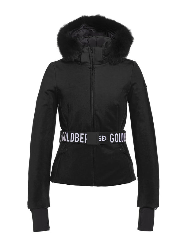 Hida Fur Streamlined ski jacket - Goldbergh - Black - front view