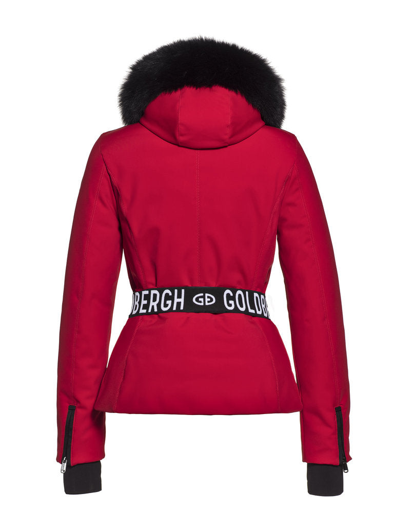 Hida Fur Streamlined ski jacket - Goldbergh - Ruby Red - back view