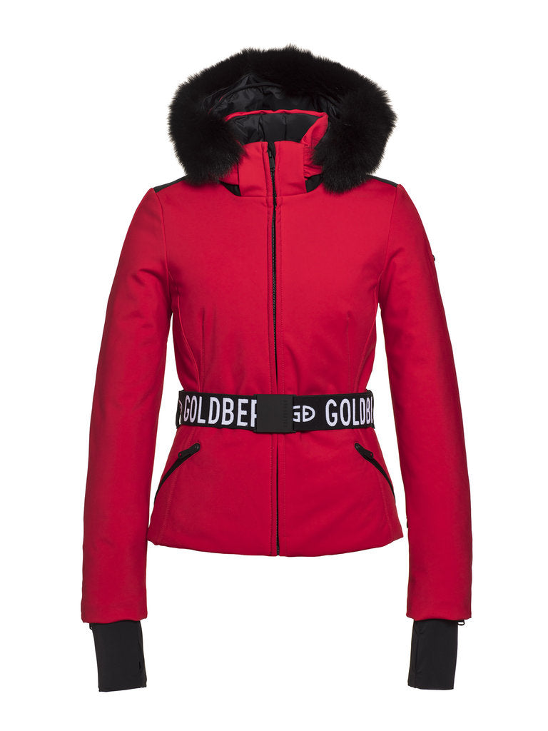 Hida Fur Streamlined ski jacket - Goldbergh - Ruby Red - front view