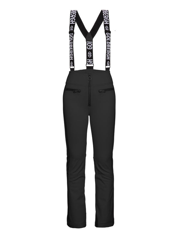 High End Tight Fit Ski Pants - Goldbergh - Black - front view