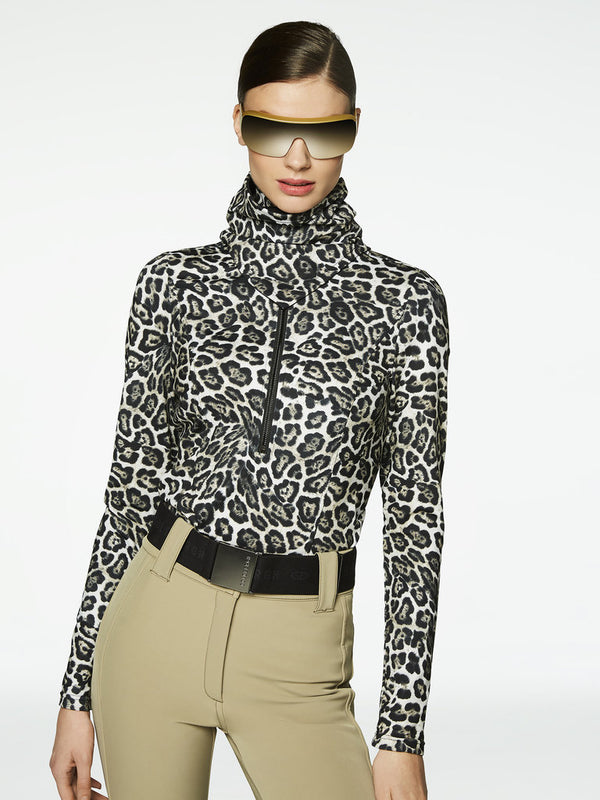 Lilja - Ski pullover with leopard print - Goldbergh - dressed front view