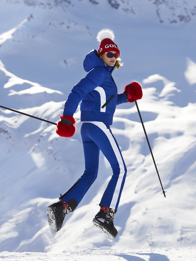 Runner Retro Style Ski Pants-  Goldbergh - Electric Blue - dressed view
