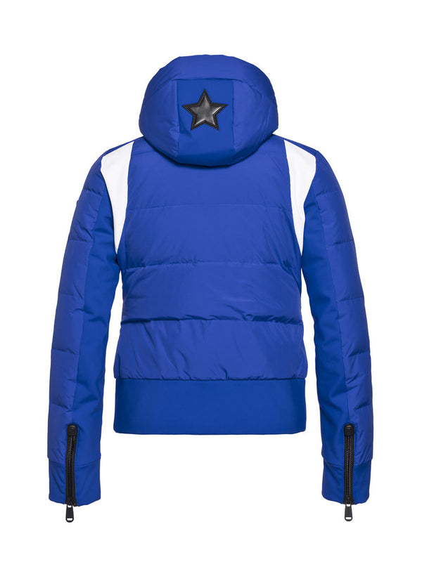 Tess Women's Retro style ski jacket - Goldbergh - Electric Blue - back view