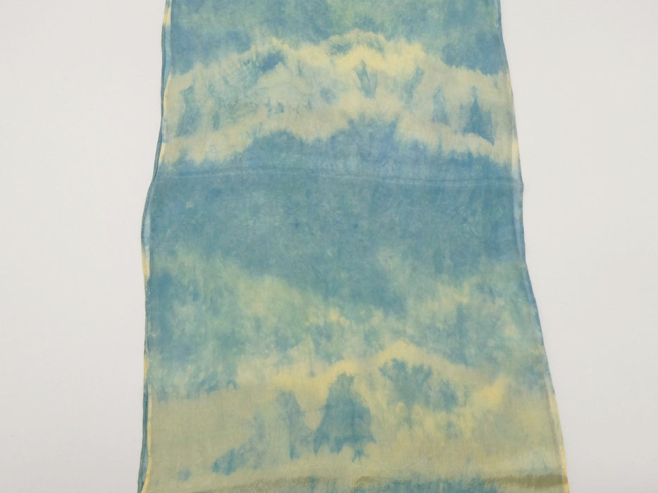 Tie-Dyed Green Silk Scarf, Small