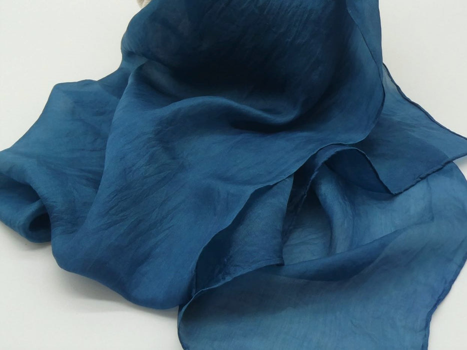 Petrol Blue Silk Scarf, Large