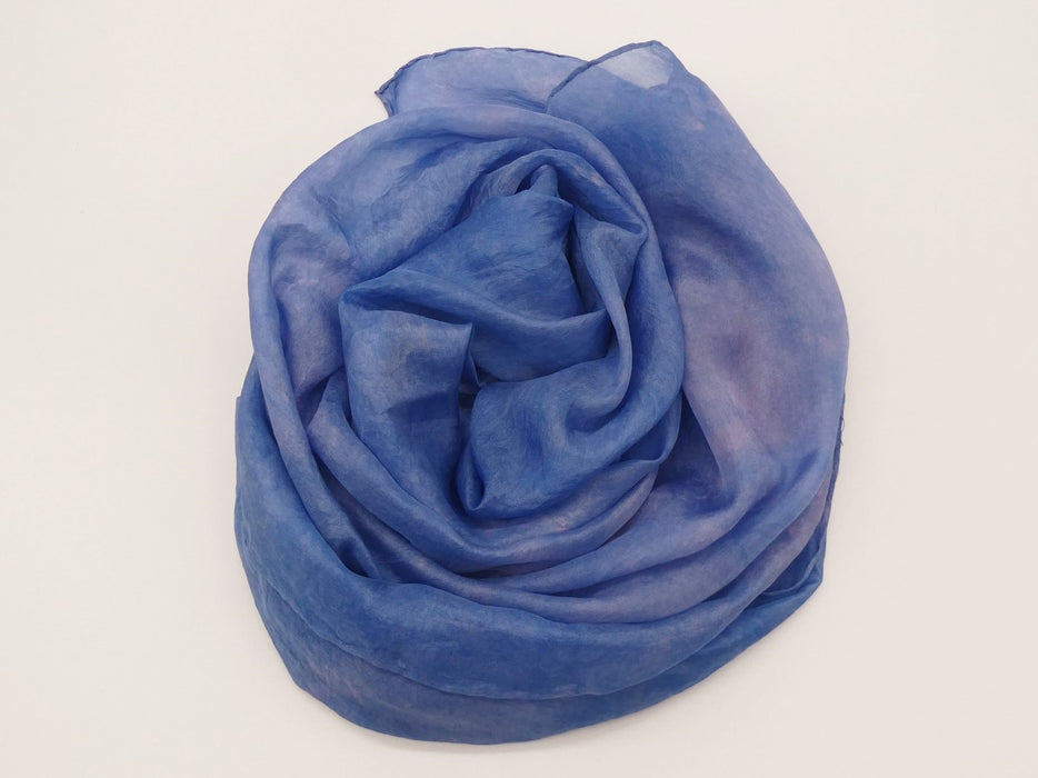 Blue and Pink Silk Scarf, Large