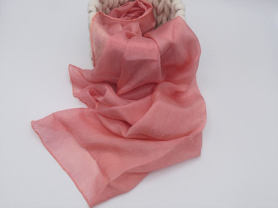 Coral Pink Silk Scarf, Medium