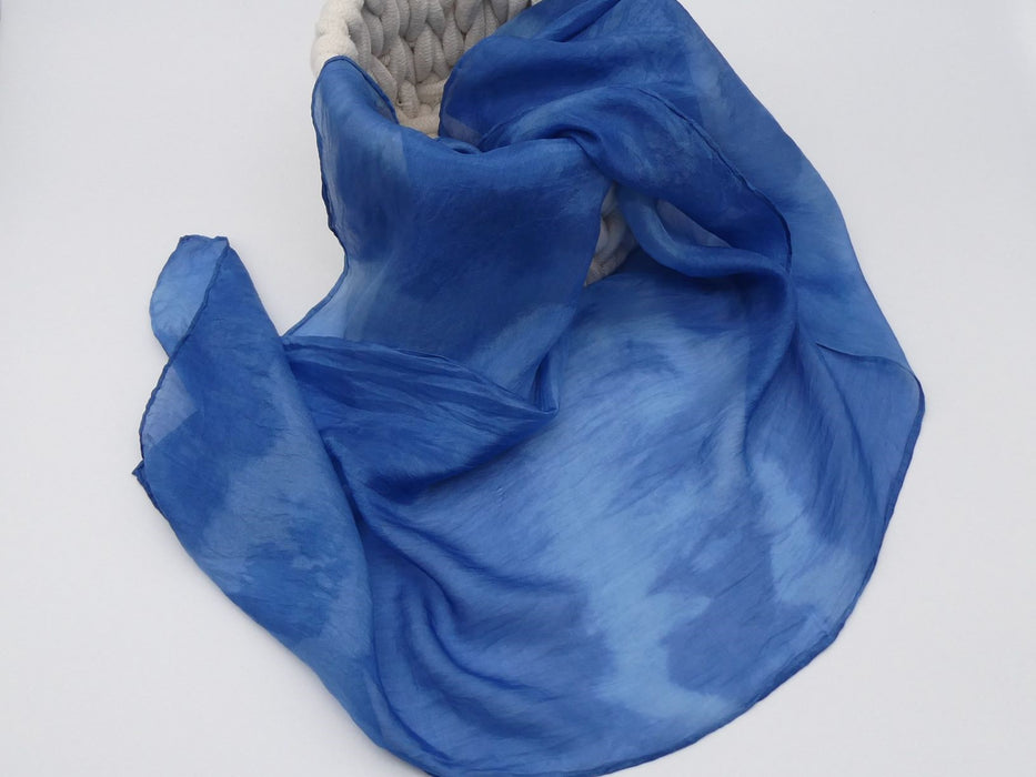 Indigo Blue Silk Scarf, Small